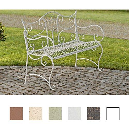 CLP Gartenbank TARA, Landhaus-Stil, Eisen lackiert, Design antik,113 x 47 cm, bis zu 5 Farben wählbar Antik Weiß