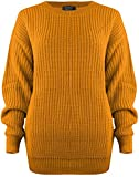 SA Fashions® Oversized New Ladies Womens Chunky Baggy Jumper Knitted Sweater Thick Top S-XL 8-18 (S/M (8-10), Mustard)
