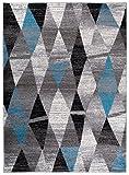 Alfombra De Salón Moderna – Color Gris Azul De Diseño Geométrico Cuadrado – Suave – Fácil De Limpiar – Mejor Calidad – Diferentes Dimensiones S-XXXL 160 x 220 cm