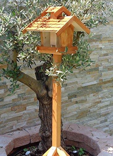 Vogelhaus, Futterhaus,groß, K-BEL-VOVIL4-dbraun002 Großes PREMIUM-Qualität,Vogelhaus,WETTERFEST, QUALITÄTS-Standfuß-aus 100% Vollholz, Holz Futterhaus für Vögel, MIT FUTTERSCHACHT Futtervorrat, Vogelfutter-Station Farbe braun dunkelbraun schokobraun rustikal klassisch, Ausführung Naturholz MIT TIEFEM WETTERSCHUTZ-DACH für trockenes Futter - 3
