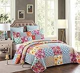 Unimall Tagesdecke 100% Bio Baumwolle Bettüberwurf mit modern Patchwork mit Gänseblümchen Vierblättriges Kleeblatt 230 x 250 cm + 2 Kopftkissenbezüge