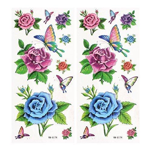 sourcingmap® Fiore Reticolo Di Farfalla Adesivi Tatuaggi
