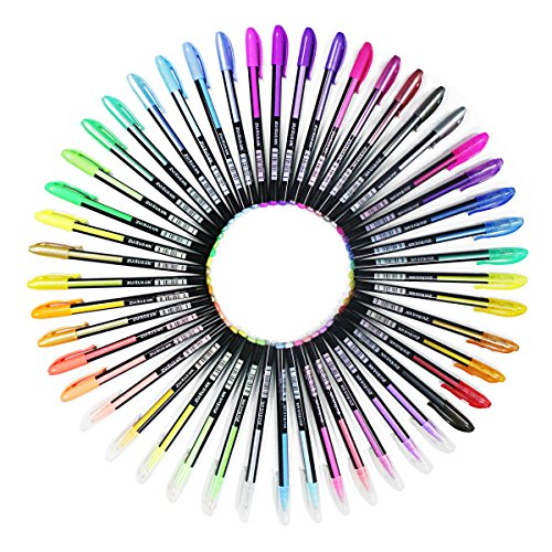Ciaoed 48 Stück Glitzer Gelschreiber Gelstifte Multicolor Gel Stift Set für Erwachsene...