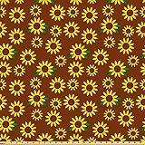 ABAKUHAUS Sonnenblume Stoff als Meterware, Cartoon Blüten,