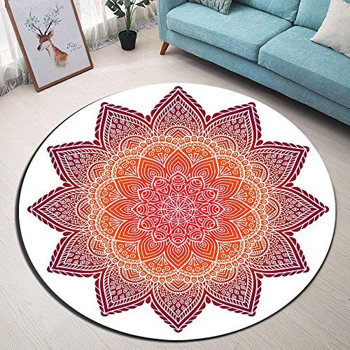 Zen,Indisch,Mandala,Blumen_Rund Fläche Teppich Wohnzimmer Schlafzimmer Badezimmer Küche Bodenmatte Inneneinrichtung,120x120 - Küche-teppich-blumen