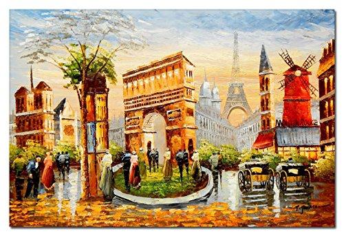 elOleo 88956A Pariser Stadtleben im Sommer 60x90 Ölgemälde auf Leinwand handgemalt