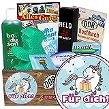 Für Dich (mit Einhorn) | Pflegeset | Geschenk Set | Für Dich (mit Einhorn) | Pflegebox | Geschenk für Einhorn Fan | Geschenk für Dich Schokolade | GRATIS DDR Kochbuch