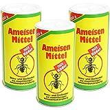 COM-FOUR® 3x Ameisenmittel mit Köder je 250g, Streu- und Gießmittel Ameisengift, 750g