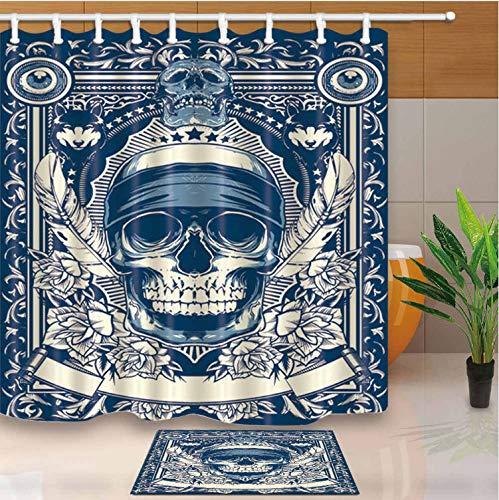 Fandhyy Duschvorhang Bad Vorhang Art Design Sugar Skull Home Decor Wasserdichtes, Mouldproof Mit 12 Kunststoffhaken 200X180Cm B (Sugar Skull Art)