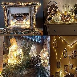 Cadena de LED de colores Salcar de 10 metros / 33 pies, 100 diodos internos, micro alambre de cobre para navidad, decoracion de fiestas, festivales (luz cálida)