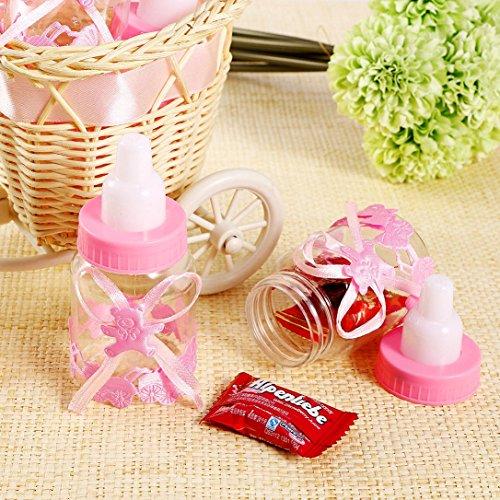 Syoo 24 x Rosa Baby Mädchen Süßigkeiten Flasche Geschenkbox zum Taufe Babyparty Babyshower Kinderparty Garten Party Gastgeschenk
