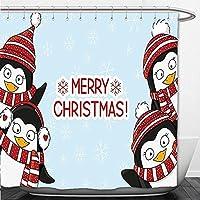 Beshowere Cortina de ducha decoraciones de Navidad Jolly muñeco de nieve bajo luna llena de ahorro