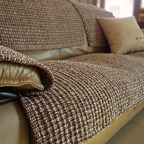 Gewebter Stoff Kissen (XDDAXYY Anti-rutsch sofabezug Plus pad Stoff Kissen europäisch anmutenden gewebt sofabezug Sofa Handtuch-Kaffee 70x150cm(28x59inch))