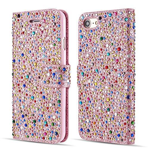 ZCDAYE Sparkly Diamond Flip Hülle für iPhone 6 6S,Bling Glitter Magnetisch Folio PU Leder Cute Case mit [Kartensteckplätze] Standfunktion Schutzhülle[Roségold+Multicolor]
