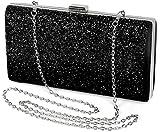 styleBREAKER Hartschalen Clutch, Abendtasche mit Strasssteine und Gliederkette, Schnappverschluss, Damen 02012044, Farbe:Schwarz