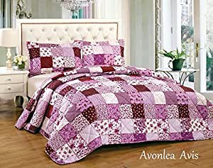 bettw sche mit blumenmuster patchwork vintage decke tagesdecke baumwolle 3 st ck pink fuschia. Black Bedroom Furniture Sets. Home Design Ideas
