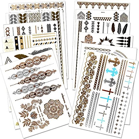 Outee 12 Blätter Metallic Henna Tattoos Temporäre Metallic Tattoos Blitz Temporäre Fake Schmuck Tattoos in Gold Silber für Erwachsene und Kinder