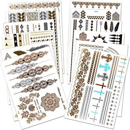 Outee 12 Blätter Metallic Henna Tattoos Temporäre Metallic Tattoos Blitz Temporäre Fake Schmuck Tattoos in Gold Silber für Erwachsene und Kinder