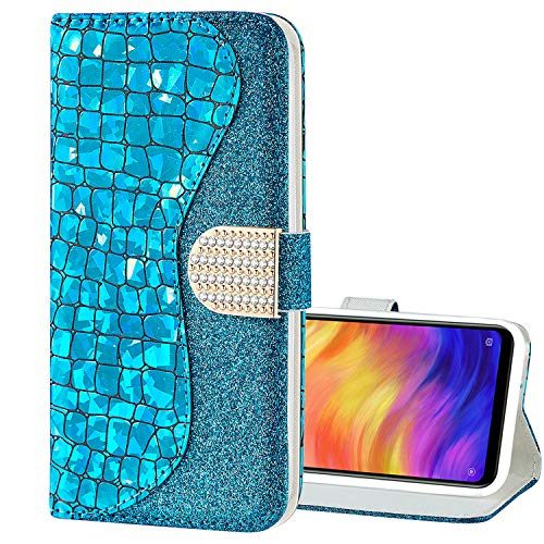 Nadoli Hülle Glitzer für iPhone 5S 5,Bling Glänzend Laser Pu Leder Diamant Schnalle Magnetverschluss Standfunktion Strass Flip Brieftasche Schutzhülle für iPhone SE 5S 5 5 Bling