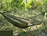 2 Person Jungle Hammock with Mosquito Net, Portable lanyard outdoor mosquito bar Sleeping hammock swing double Bed Green Hanging Bed for Camping and Hiking