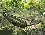 Jungle amache con Rete della zanzara, cordino portatile Hammock zanzariera all'aperto Dormire dondolo doppio letto verde appesa da letto per i Campeggi e Trekking