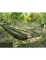 Jungle Hängematte mit Moskitonetz, tragbarer Lanyard Outdoor Mosquito Bar Sleeping Hängematte Swing Doppelbett grün zum Aufhängen Bett für Camping und Wandern