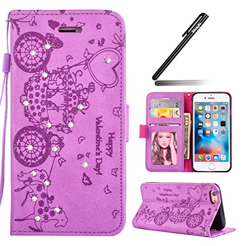 iPhone 6/6S plus 5.5 Custodia, Ukayfe 2016 Modello Bumper Slim Folio Portafoglio / wallet / libro in pelle - Retro Elegante Modello Custodia con Cristallo Farfalla di Strass di Magnetico Snap-on Book  Porpora(Carrozza con Strass)