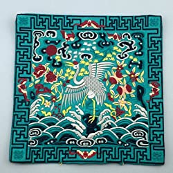 Generic Novelty Chinese Crane Pattern Dining Table Placemats Silk Fabric Square Waterproof non-slip Table Mat Embroidered protector Pad Blue