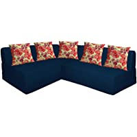 Aart Store Four Seater Interchangeable L Size Sofa Set with Five Cushion in Blue for Living Room