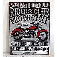 Blechschild Metallschild Motorrad Schild Silber 40x30cm gross Garage Harley silber Route