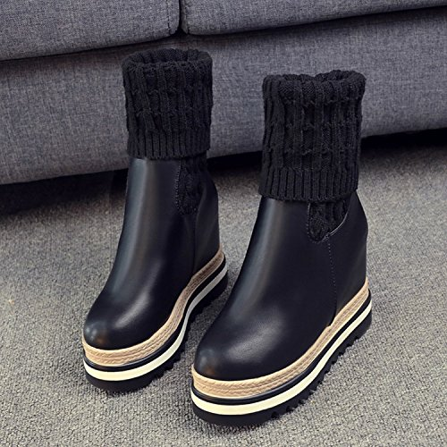 HDYS Damenschuhe High-Heeled Dick Unten in Einem Runden Kopf Hang mit Beine Socken Stricken Leder Stiefel, Schwarz, 37 Erhöht (Ferse Hohe Lederstiefel)