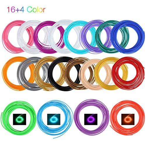 Excelvan - 1.75Mm Filamentos ABS para Plumas Lapiz Impresora 3D (16 Colores y 4 Colores del resplandor, 340 Pies 100M)