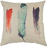 Fundas de Cojines Algodón de Lino Decorativos Sofá Pluma Color Funda de Almohada (18*18 inch)