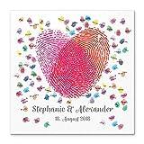 Madyes Leinwand Hochzeit Fingerabdruck Gästebuch Personalisiert Herz Fingerabdrücke für Das Brautpaar als Geschenk, Hochzeitsdekoration, Namen mit Datum. 50x50 cm groß auf Keilrahmen Holz