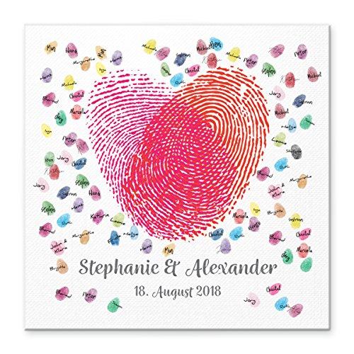 Madyes Leinwand Hochzeit Fingerabdruck Gästebuch personalisiert Herz Fingerabdrücke für das Brautpaar als Geschenk, Hochzeitsdekoration, Namen mit Datum. 50x50 cm groß auf Keilrahmen Holz (Gästebuch Personalisierte Hochzeit)