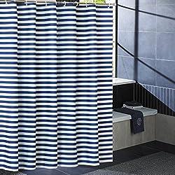 Laime Home Cortinas de Ducha con Ganchos, Lavables a Máquina, Cortinas de Ducha de Tela para Baño, 182,88 x 182,88 cm, Impermeables y Resistentes al Moho, Azul Rayas, 72''Wx72''L
