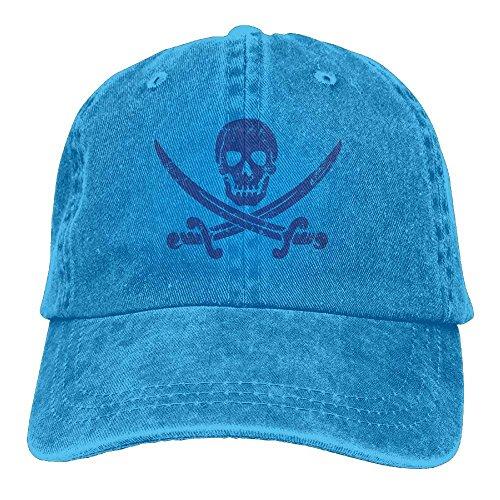Aoliaoyudonggha Skull Swords Pirate Unisex Adjustable Baseball Caps Denim Hats Cowboy Sport Outdoor (Cap Deluxe Skull)