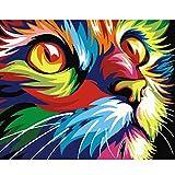 slylive dream-hand-painted Öl Gemälde, Katze DIY Ölgemälde von Zahlen Acryl Zeichnen auf Leinwand Home Office Decor Geschenk gerahmt-Wandbild abstrakt modern art Gemälde für Wand Dekorationen Home Dekorationen