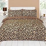 Leopard Chocolate Brown Animal Print Super King Size Duvet Quilt Cover Bedding Set