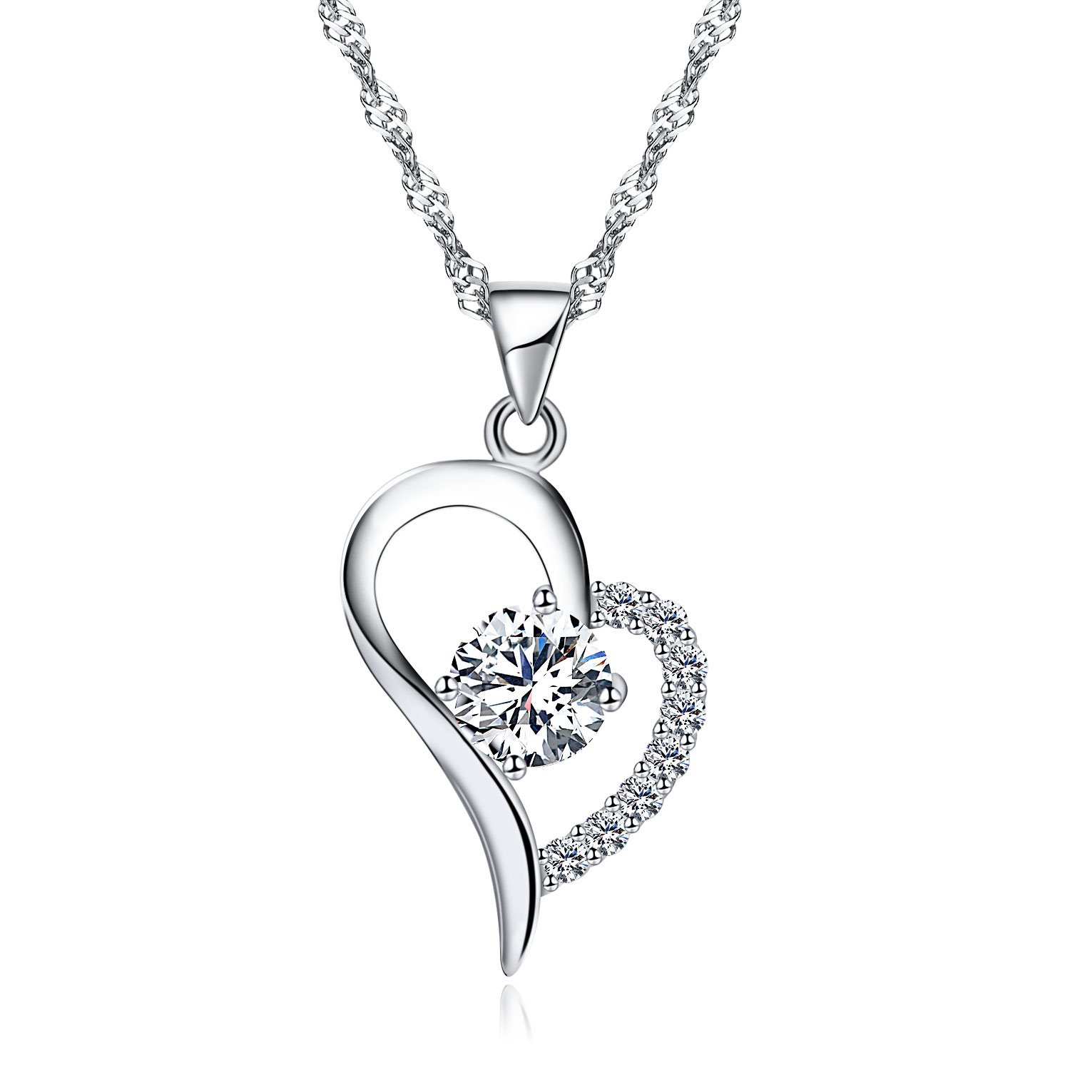 Wonvin Womans Necklaces Women s 925 Silver Cubic Zirconia Crystal