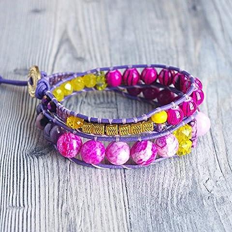 bracelet cuir violet perles violettes jaune double tour boho bohème perle agate et fantaisie