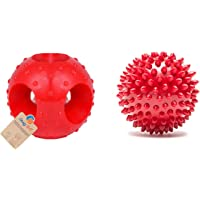Goofy Tails Rubber Chew Dog Toy Combo Spiked Ball + Hole Ball (Red,Medium)