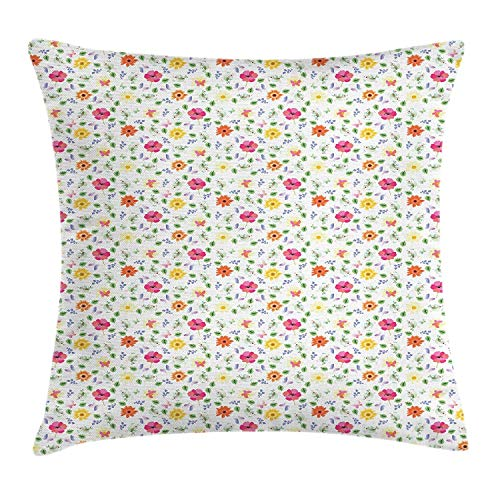 BBABYY Garden Art Throw Pillow Cushion Cover, Funny Little Birds Butterflies Green Leaves Poppy and Marigold Flowers on White, Decorative Square Accent Pillow Case,Multicolor 16x16inch