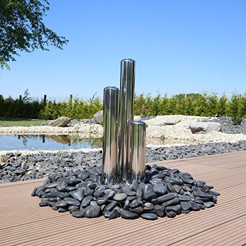 Edelstahlsäulen aufwendig poliert für Gartenbrunnen 3 Säulen 65cm 50cm 35cm hoch Zierbrunnen Edelstahlbrunnen Garten Wasserspiel