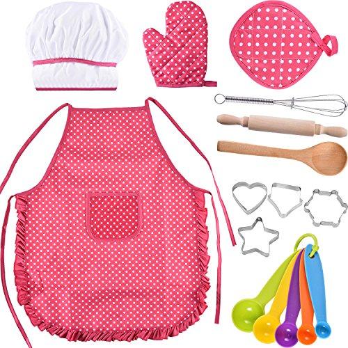 Bememo Kinder Koch Set Kinder Kochen Spiel Kinder Koch Kostüm mit Utensilien für Mädchen Kindertag Geschenk, 16 Stücke ()