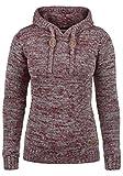 DESIRES Philla Damen Winter Strickpullover Troyer Grobstrick Pullover mit Kapuze, Größe:M, Farbe:Wine Red Melange (8985)