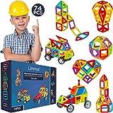Limmys Magnetische Bausteine - magnetspielzeug ab 3 Jahre für Jungen und Mädchen - Pädagogisches Naturwissenschaftliches Spielzeug 74-teilig mit Ideenheft