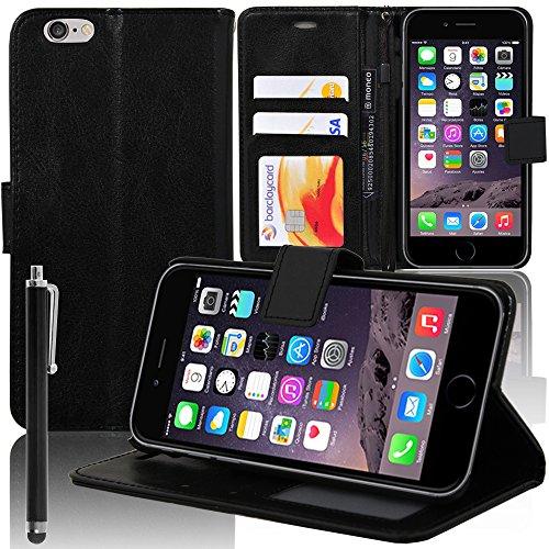 VComp-Shop® PU-Leder Handy Brieftasche mit Kartenfächer und Video-Standfunktion für Apple iPhone 6/ 6s - SCHWARZ SCHWARZ + Großer Eingabestift