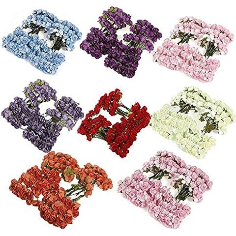 Bluelover 144pcs boda Scrapbooking BRICOLAJE papel hecho a mano de Mini flores - azul