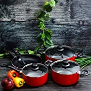Royalford RF6082 Scratch Resistant Cookware - Set of 8 Pieces, Red and Black,Stainless Steel